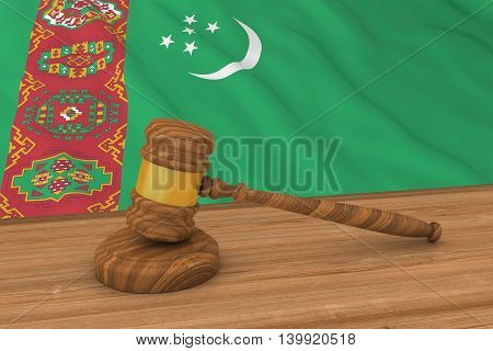 Turkmen Law Concept - Flag Of Turkmenistan Behind Judge's Gavel 3D Illustration