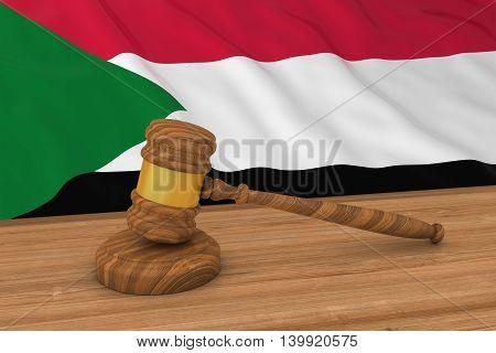 Sudanese Law Concept - Flag Of Sudan Behind Judge's Gavel 3D Illustration