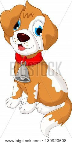 funny puppy cartoon sitting for you design