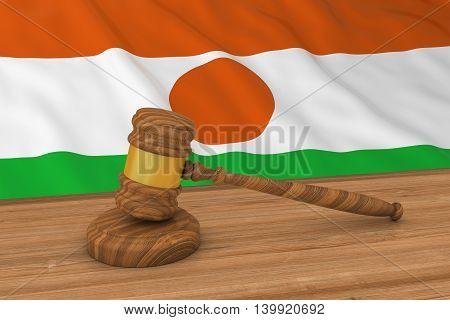 Nigerien Law Concept - Flag Of Niger Behind Judge's Gavel 3D Illustration