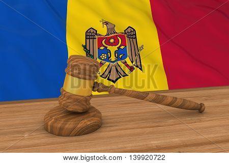 Moldovan Law Concept - Flag Of Moldova Behind Judge's Gavel 3D Illustration