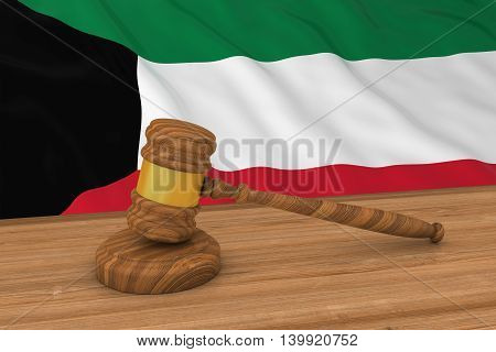 Kuwaiti Law Concept - Flag Of Kuwait Behind Judge's Gavel 3D Illustration