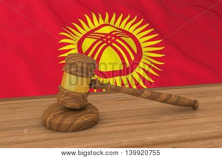 Kyrgyzstani Law Concept - Flag Of Kyrgyzstan Behind Judge's Gavel 3D Illustration
