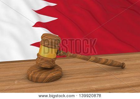 Bahraini Law Concept - Flag Of Bahrain Behind Judge's Gavel 3D Illustration