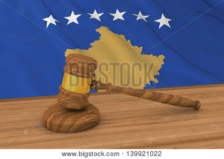 Kosovan Law Concept - Flag Of Kosovo Behind Judge's Gavel 3D Illustration