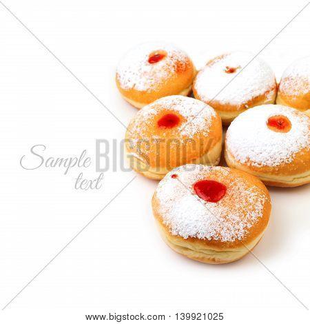 Sweet donut for jewish holiday hanukkah isolated on white background