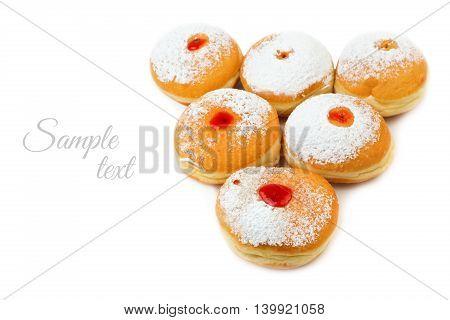 Donut for jewish holiday hanukkah isolated on white background