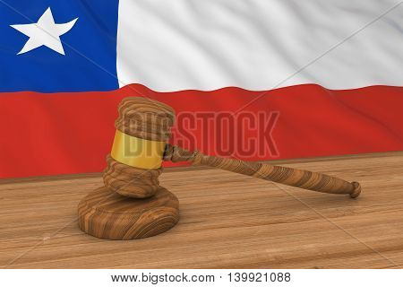 Chilean Law Concept - Flag Of Chile Behind Judge's Gavel 3D Illustration
