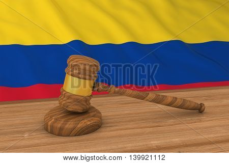 Colombian Law Concept - Flag Of Colombia Behind Judge's Gavel 3D Illustration