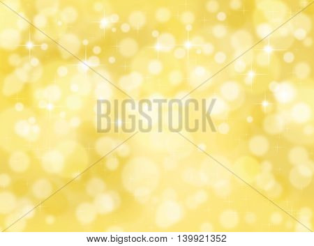 Golden color bokeh background with lights spots