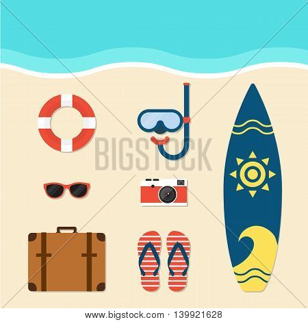 Summer elements flat design vector illustration isolated
