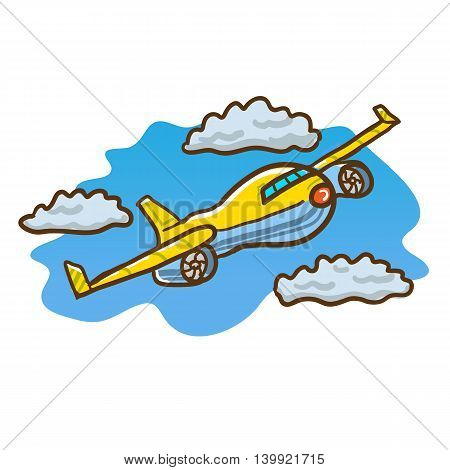Vector hand drawn illustration of an airplane flying in the blue sky through clouds