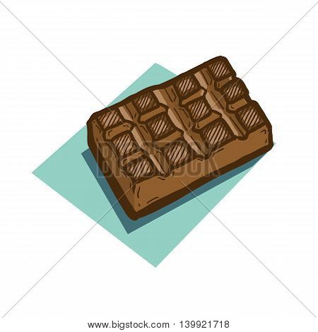 Vector hand drawn illustration of chocolate bar on blue background. Cute and stylized illustration suitable to be used with fun or candy-related scenes.