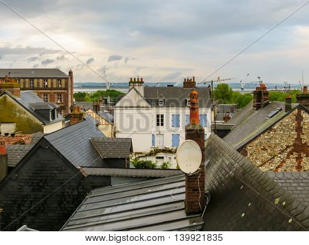 View on the roofs of Honfleur, Normandy, France