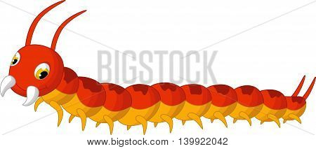 cute centipede cartoon posing for you design