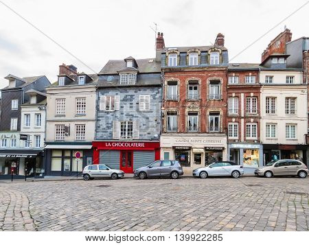 HONFLEUR FRANCE - MAY 7, 2014: Street of Honfleur, Normandy, France