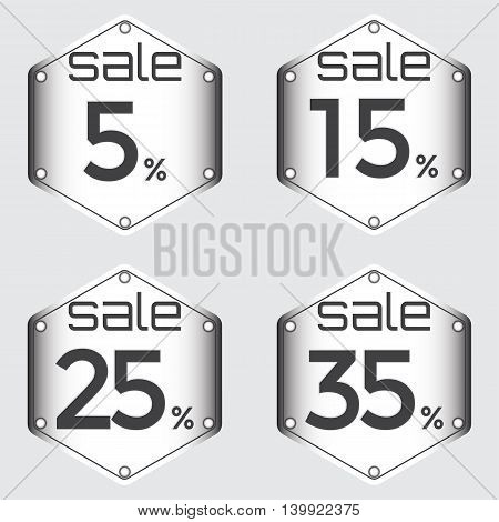 Sale discount labels. Special offer price signs. 5 15 25 and 35 percent off reduction symbols.
