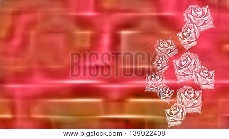 Shiny metallic pink greeting card background with abstract roses