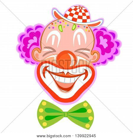 Circus happy smiling clown in retro style with purple hair isolated on white