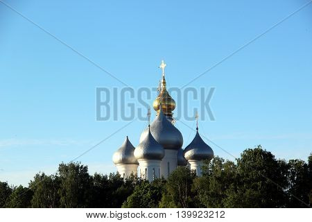 Sophia cathedral in the Vologda city, Russia. Summer sunny day. White church and bell tower.