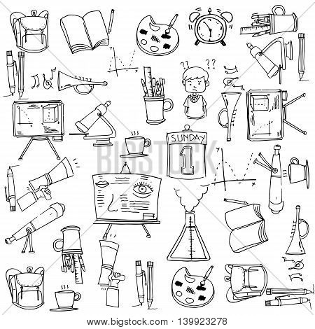 Collection clasroom supplies doodles whit hand draw