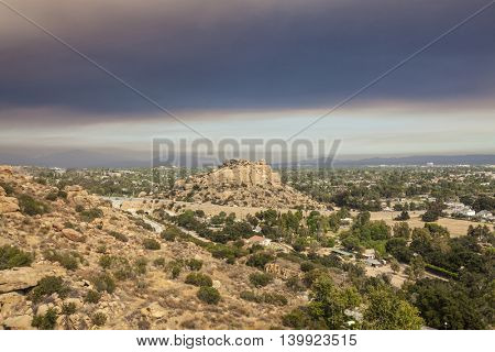 Fire smoke sky over Stoney Point and the San Fernando Valley in Los Angeles, California.
