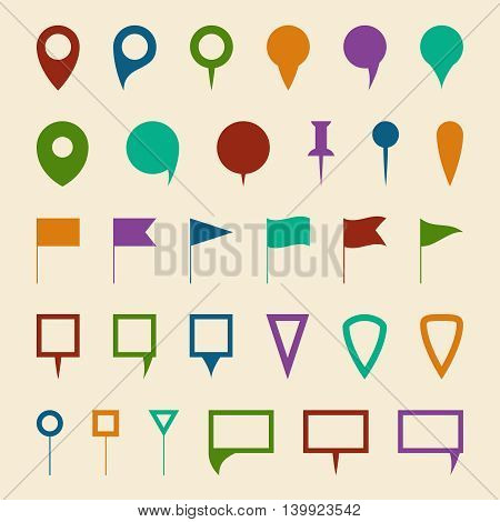 Map navigation pin pointer vector symbols. Elements for web navigation, illustration pin icon for map location and navigation