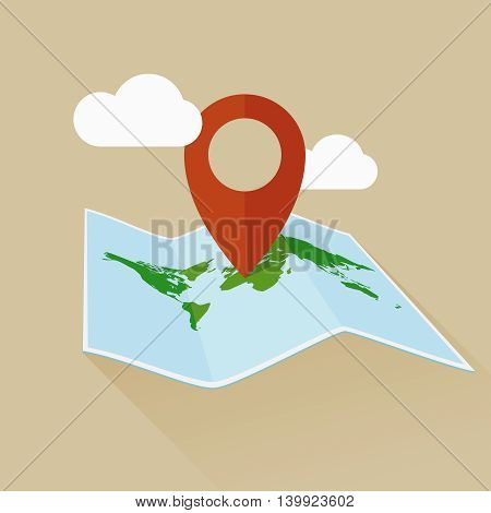 Location flat vector icon with travel map and pin. Vector map illustration