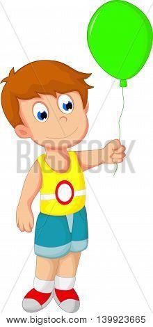 cute boy cartoon standing with holding a balloon