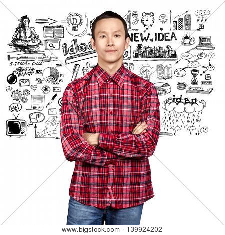 Asian man looking on camera, have got an idea