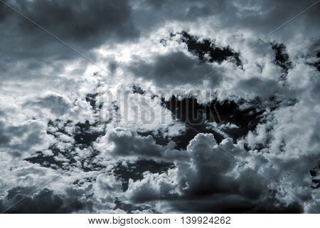 Beautiful storm sky with clouds, apocalypse, thunder, tornado