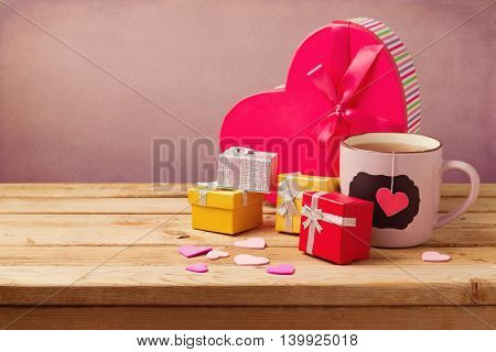 Gift boxes and cup of tea for Valentine's day