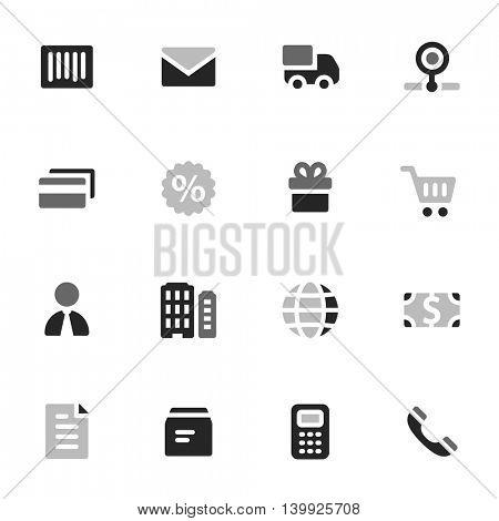 Shopping mobile icons, e-commerce infographics symbols.