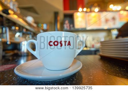 MOSCOW, RUSSIA - JUNE 26, 2016: close up shot of cup at Costa Coffee. Costa Coffee is a British multinational coffeehouse company.