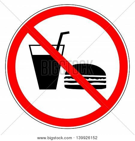 Do not eat and drinks sign in red circle. Icon restriction eating on white background. Healthy food concept. Sticker silhouette forbidden eating and drinks. Flat vector image. Vector illustration.
