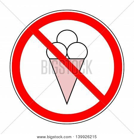 Do not eat cream sign prohibition in red circle. Silhouette cream icon on white background. Label no do food. Symbol forbidden eating. Mark warning. Flat vector image. Vector illustration.