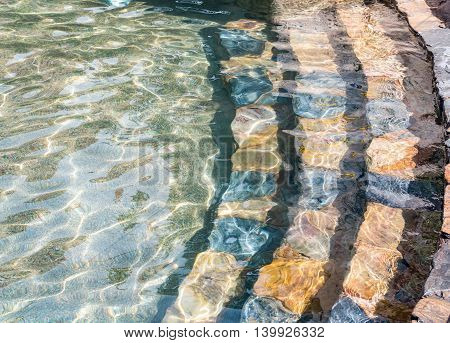 Stone Stairs Down Into The Water, Swimming Pool