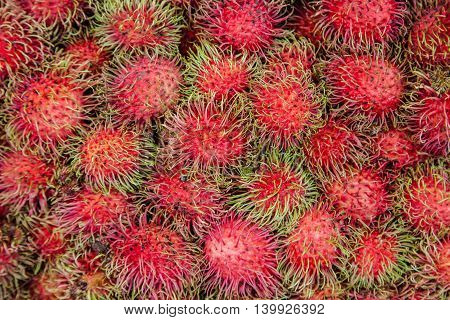 The rambutan fruit as a background with nature light