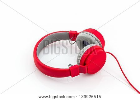 Close up Red Headphones on a White Background.