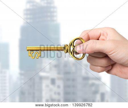 Hand Holding Golden Treasure Key In Dollar Sign Shape