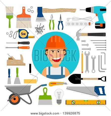 Male worker with safety equipment, working and construction tools comic icons. Vector illustration