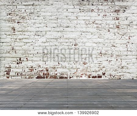 Old Wooden Floor With Stripped Bricks Wall