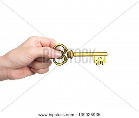Hand Holding Golden Treasure Key In Euro Symbol Shape