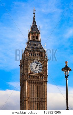 Big Ben in London United Kingdom on Sunny Day