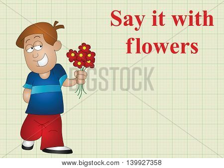 Say it with flowers on graph paper background with copy space for own text, vector