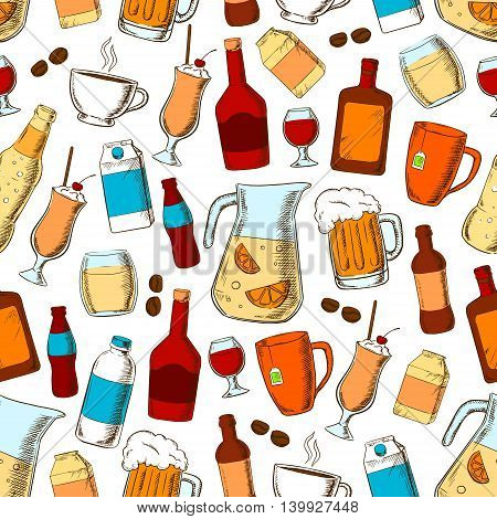 Drinks seamless pattern. Alcohol, fresh and healthy beverage elements. Hand drawn cartoon icons of coffee beans, hot tea cup, cocktail straw, beer mug, lemonade jar, wine glass, whiskey, rum, soda bottle, milk pack