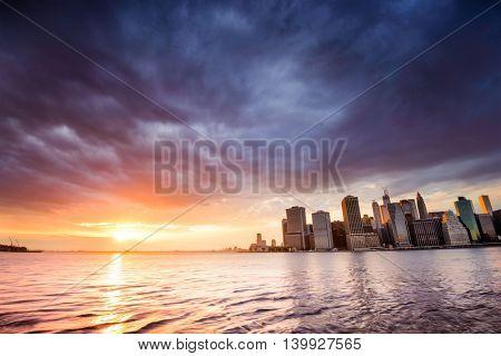 Manhattan skyline across the East River in New York City.