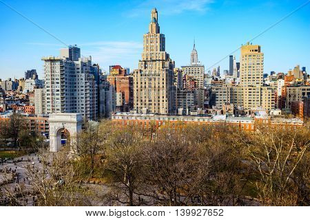 Washington Square Park and Greenwich Village Cityscape in New York City.