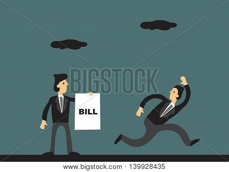 Businessman running away from creditor holding document that says Bill. Vector cartoon illustration for business and financial concept.
