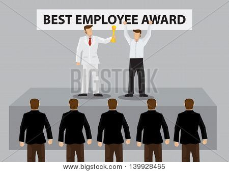 Happy worker on stage to receive golden trophy for Best Employee Award from employer. Vector cartoon illustration on recognition for good employee concept isolated on grey background.